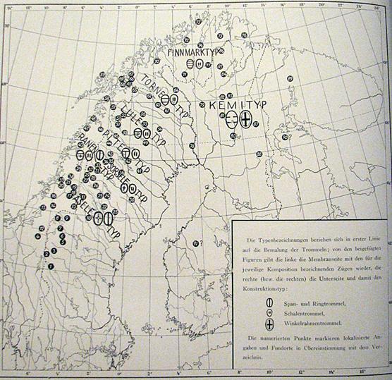 Noitarumpujen löytöpaikat Skandinaviassa Ernst Mankerin mukaan